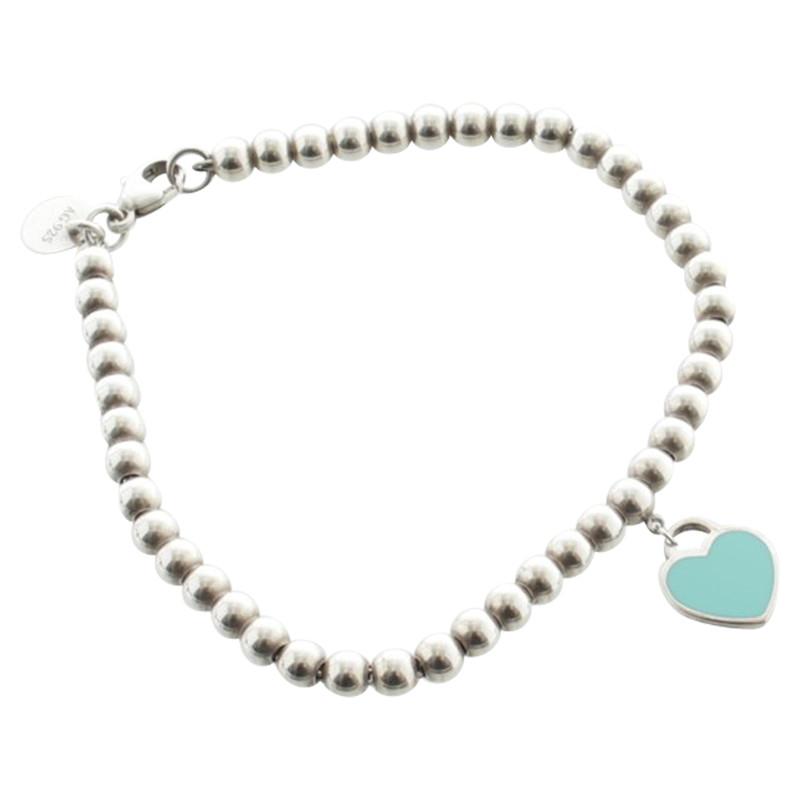 Bracelet boule avec pendentif coeur Tiffany \u0026 Co. Bracelet boule avec  pendentif coeur