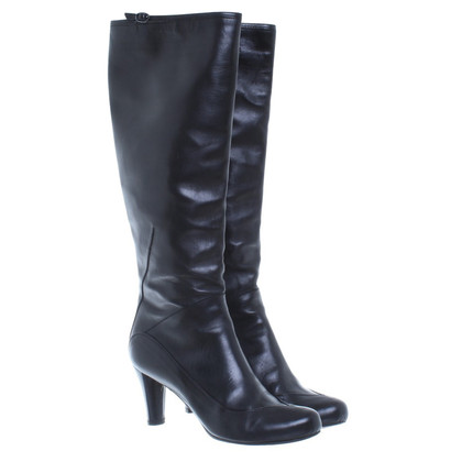 Costume National Black smooth leather boots