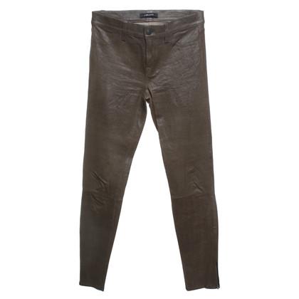 J Brand pantaloni pelle di agnello in oliva