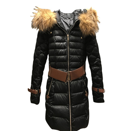 Elisabetta Franchi Winter coat black with fur hood