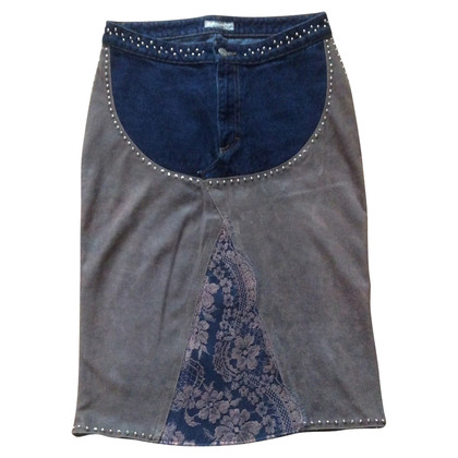 Blumarine Leather skirt with jeans & lace