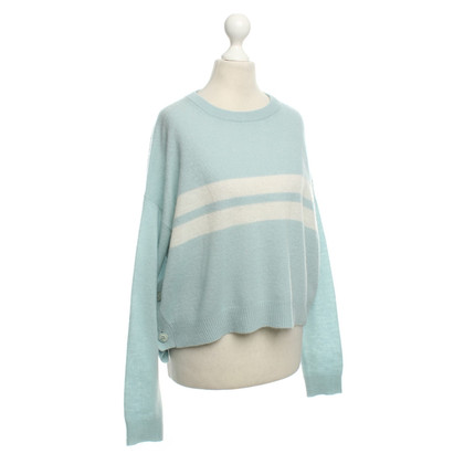 360 Sweater Cashmere Sweater in Light Blue / White