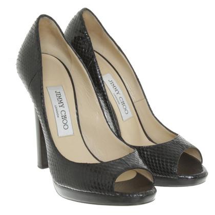 Jimmy Choo Python leather peep toes