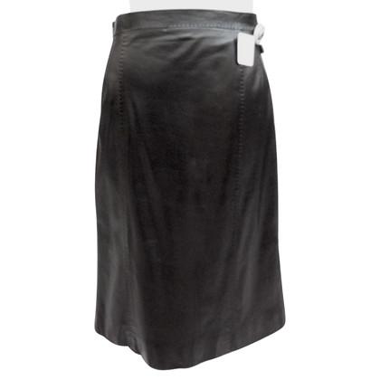 Louis Vuitton Lederen rok met een gegolfde zoom