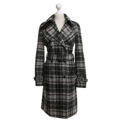 Dolce & Gabbana Wool trench coat in black / white