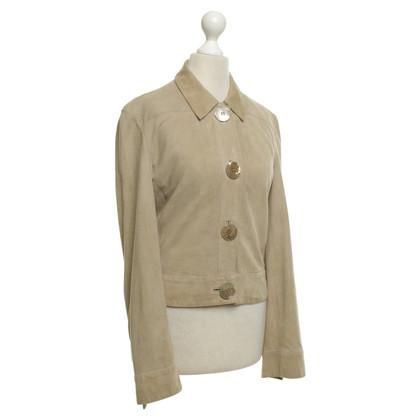 Valentino giacca di pelle scamosciata beige