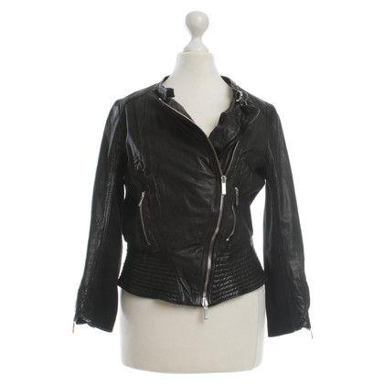Karen Millen Leather jacket with knitted inserts