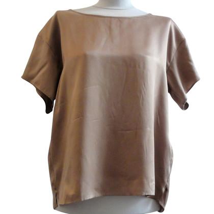 Drykorn Zijden shirt in lichtbruin