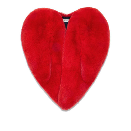 Saint Laurent 'Heart' red fox fur Cape