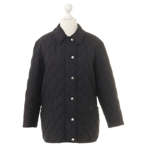 Burberry Quilted Jacket In Dark Blue Second Hand Burberry Quilted