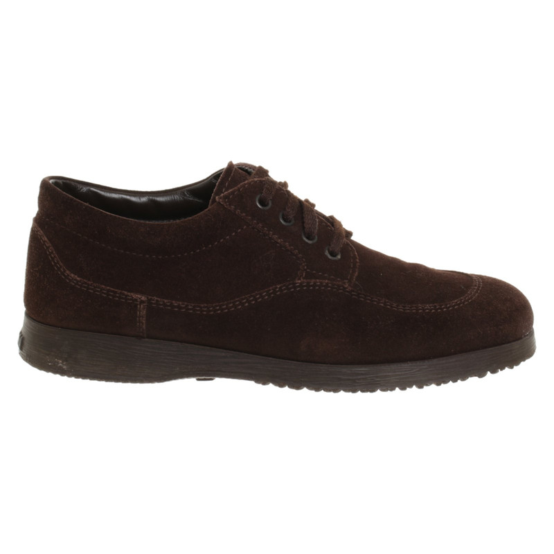 Hogan Lace up shoes Suede in Brown Second Hand Hogan Lace