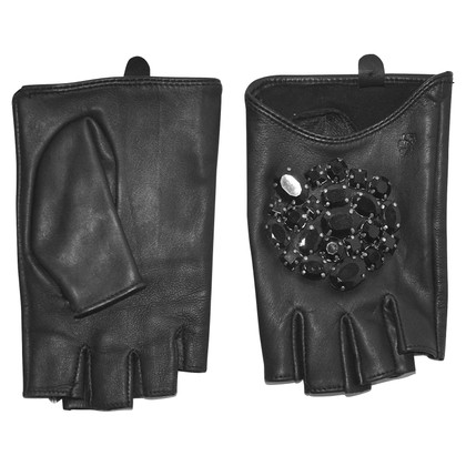 Karl Lagerfeld Gloves with gemstone trimming