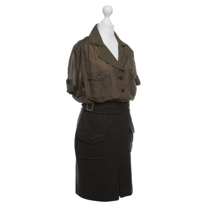 Christian Dior Khaki colored silk and wool dress