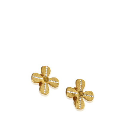 Chanel Gold-Tone Studded Flower Earrings