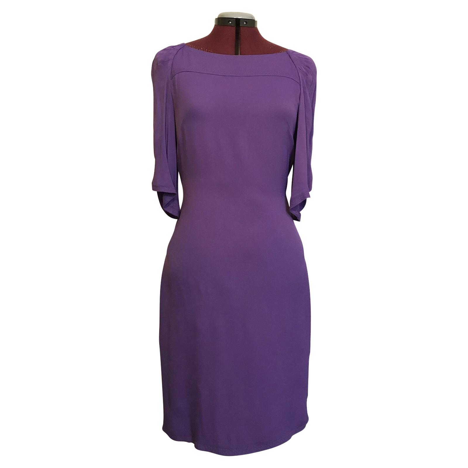 Roberto Cavalli Violettes Kleid mit Taschen - Second Hand Roberto