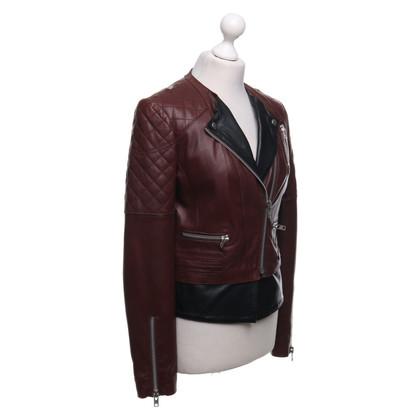 Set Leren jas in Bordeaux / zwart