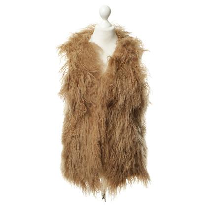 Other Designer Tibet lamb fur vest beige