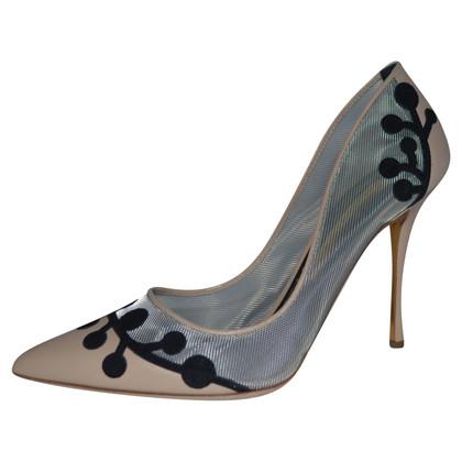 Rupert Sanderson Mesh and Beige leather high heel pumps
