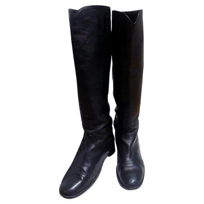 Chanel Bottes en cuir noir