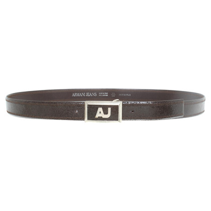 Armani Jeans Leather belt in dark brown