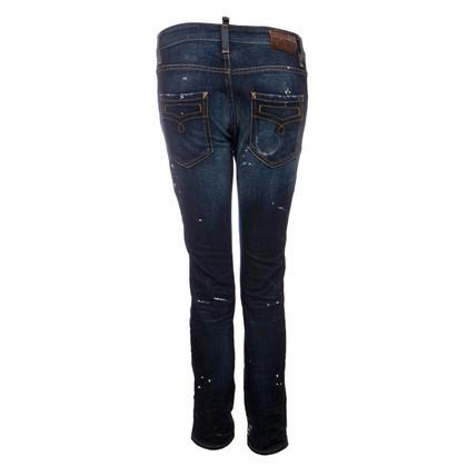 Dsquared2 jeans blu scuro con macchie di vernice bianca