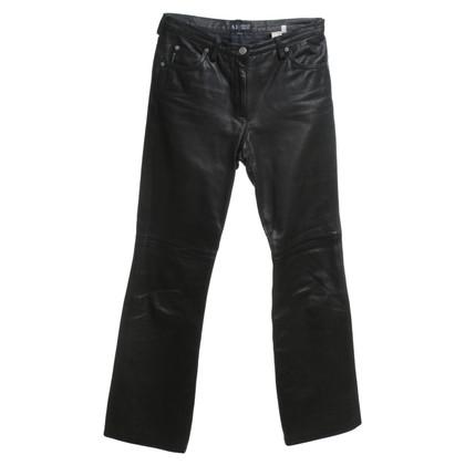 Armani Jeans Lederhose in Schwarz