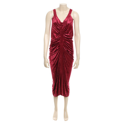 John Galliano Samtkleid in Rot