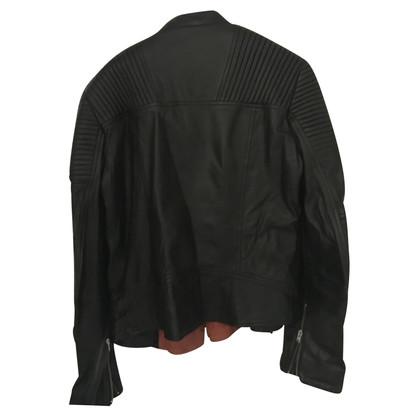 Closed Bikerlederjacke in zwart