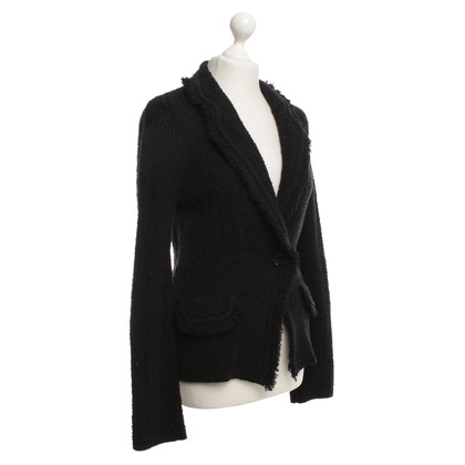 Marc Cain Knit Blazer in Black / Blue