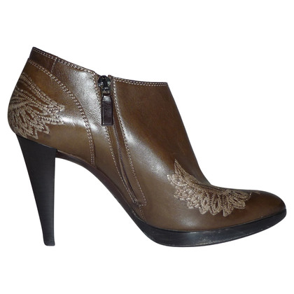 Sergio Rossi BROWN EMBROIDERED ANKLE BOOTS
