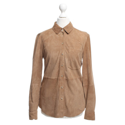 Set Wild leather blouse in Camel