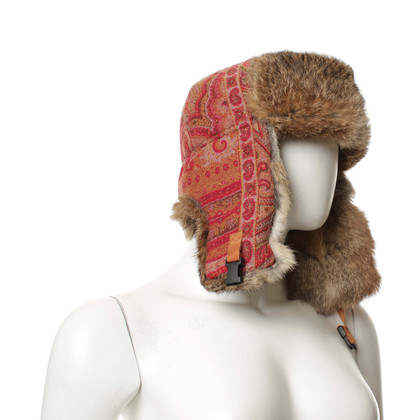 Etro Fur hat with Paisley pattern