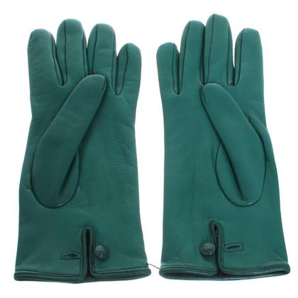 Versace Leder Handschuhe in Grün