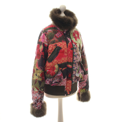 John Galliano Floral jacket with fur trim