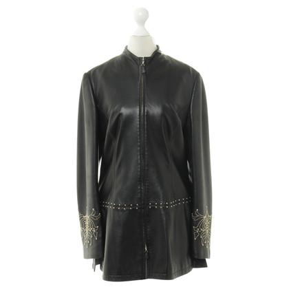 Escada Black leather jacket with studs