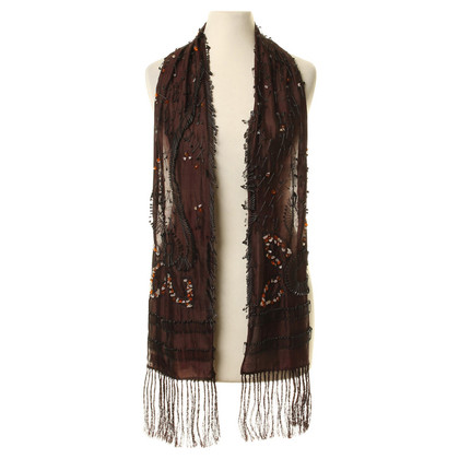 Dries van Noten Silk scarf with decorative trim