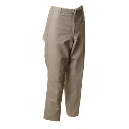 Armani Leather pants in stone grey