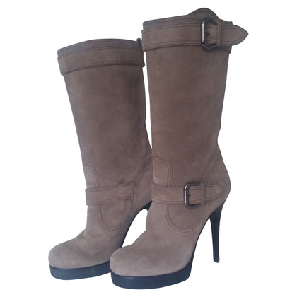 Giuseppe Zanotti Suede boots with high wooden heels