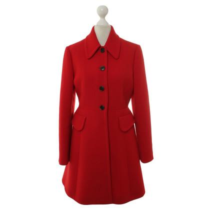 Miu Miu Manteau de laine en rouge
