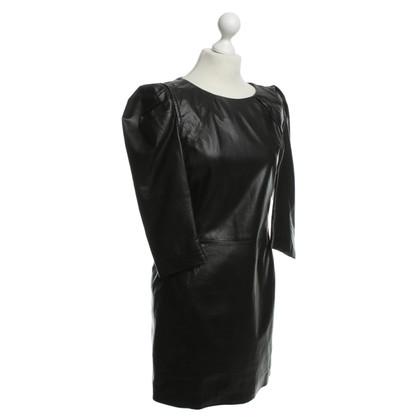 Maje Leer jurk in zwart