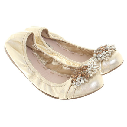 Miu Miu Gold-colored ballerinas