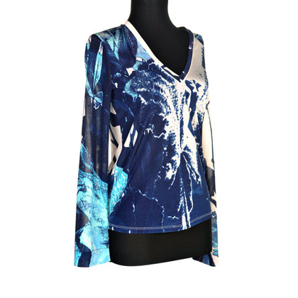 Just Cavalli Bluse in Blau/Weiß