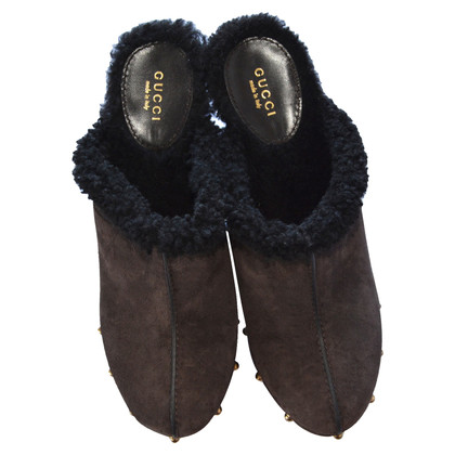 Gucci Shearling Wildleder Clogs