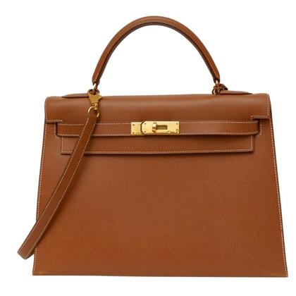 """Hermès """"Kelly Bag Sellier 32"""" in Cognacbraun"""