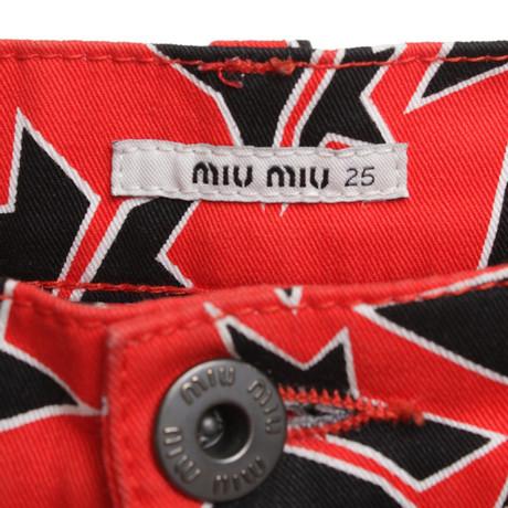 Miu Bunt Miu Motiv in Miu mit Muster Miu Jeans Korallrot 54xW8P