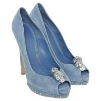 Alexander McQueen Peep-toes in light blue