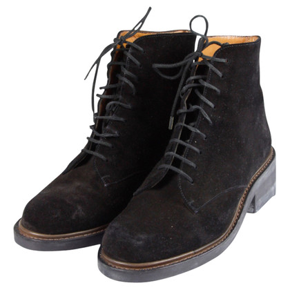 Robert Clergerie Dark brown soft suede lace boots