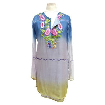 Etro zijden jurk met borduurwerk