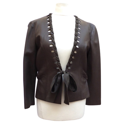 Giorgio Armani Leather jacket with silk ribbon