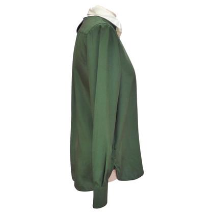 Céline Zijden blouse in Green / White